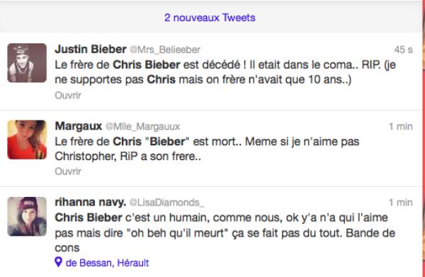 Chris Bieber: Son petit frère annoncé mort sur Twitter