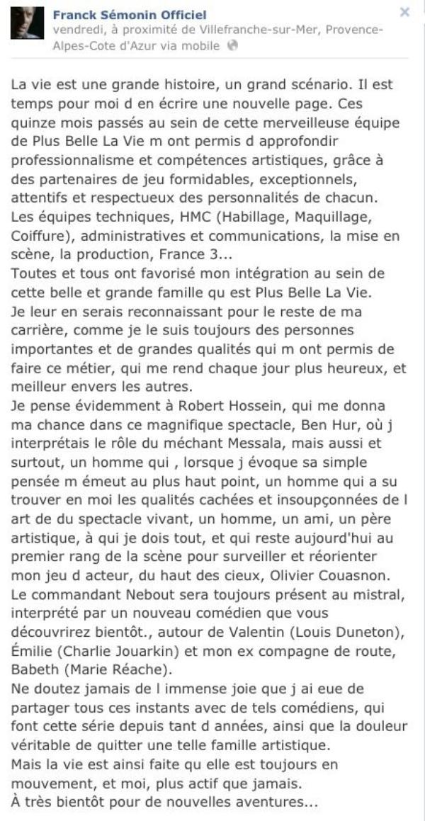 """Franck Sémonin: L'acteur quitte la série """" Plus  belle la vie"""" mais son personnage reste ..."""