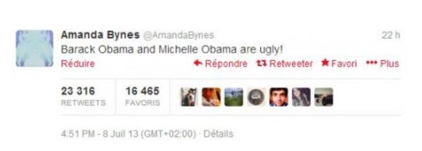"""Amanda Bynes: Elle insulte Barack Obama sur Twitter  """"Barack et Michelle Obama sont moches"""" :"""