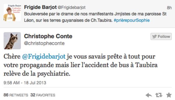 Frigide Barjot: Elle fait un parallèle entre Christine Taubira et l'accident de bus mortel en Guyane