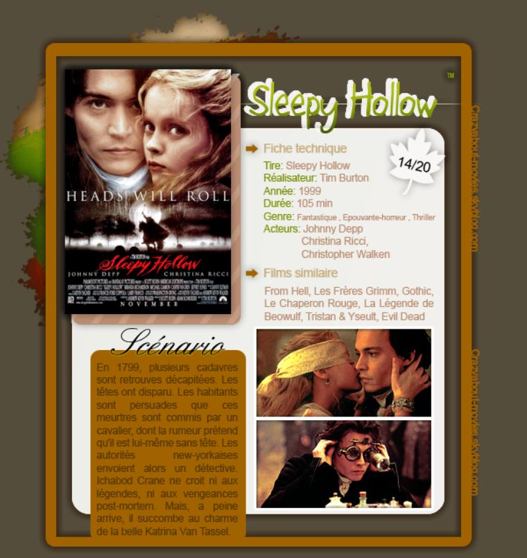Sleepy Hollow de Tim Burton avec Johnny Depp, Christina Ricci et Christopher Walken