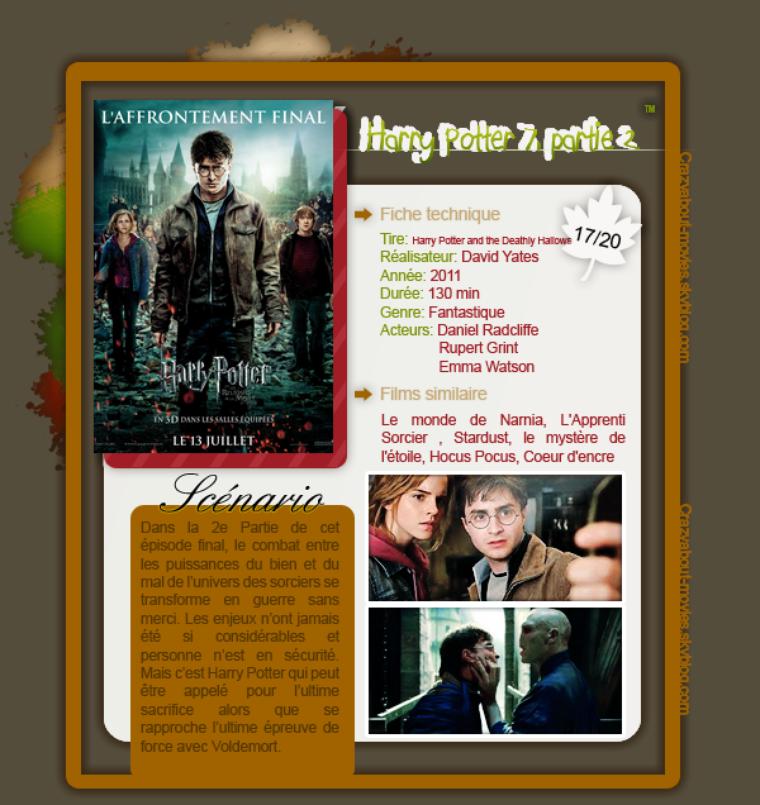 Harry Potter et les reliques de la mort, partie 2 de David Yates avec Daniel Radcliffe, Ruper Grint et Emma Watson.