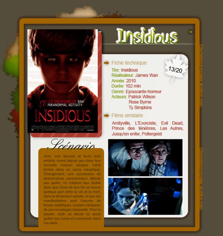 Insidious de James Wan avec Patrick Wilson, Rose Byrne et Ty Simpkins.
