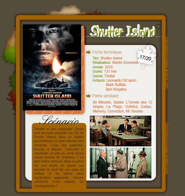 Shutter Island de Martin Scorsese avec Leonardo DiCaprio, Mark Ruffalo et Ben Kingley.