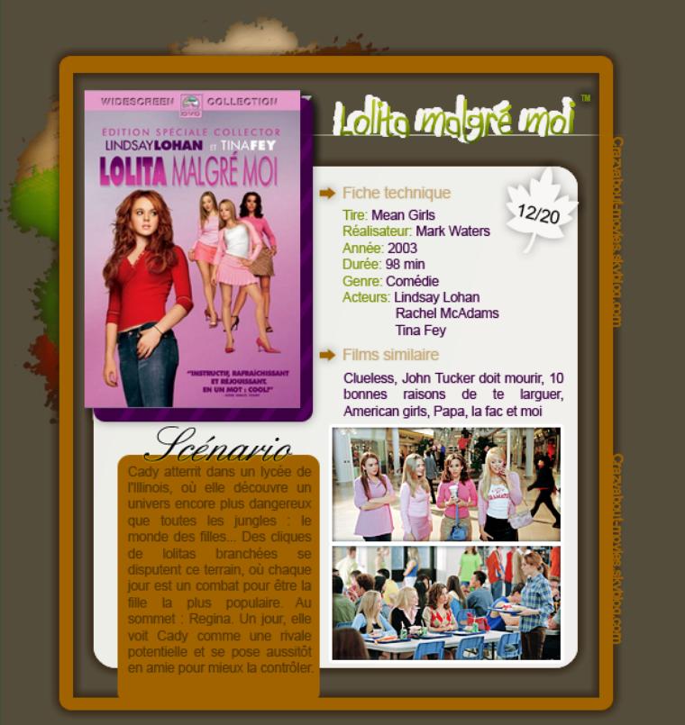 Lolita malgré moi de Mark Waters avec Lindsay Lohan, Rachel McAdams et Tina Fey