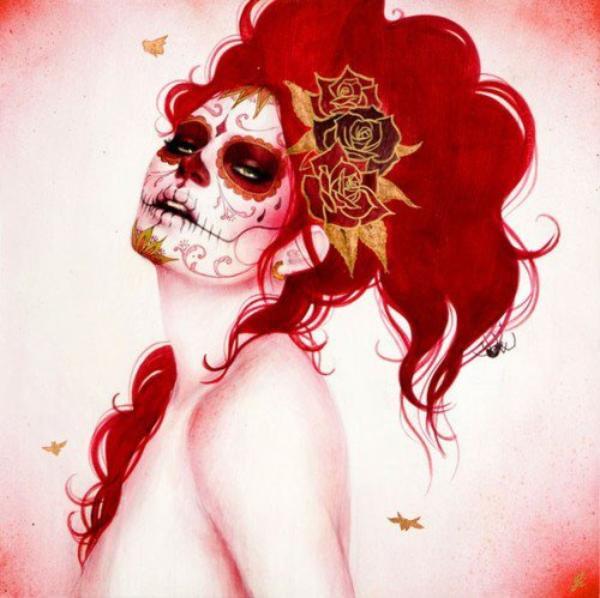 """Sugar Skull ou littéralement """"Crâne en sucre"""" viennent des traditionnels Calavera du Jour des Morts au Mexique."""
