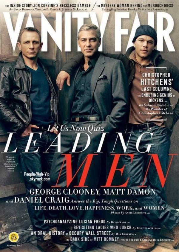 Daniel Craig, George Clooney & Matt Damon En couverture du magazine 'Vanity Fair'