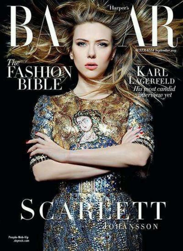 """Scarlett Johansson en couverture du magazine """" Harper's Bazaar's """" Mais aussi Lily Collins, Dakota Fanning et Zoe Kravitz posent elles aussi pour Harper's"""