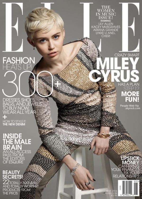 """Miley Cyrus En couverture du magazine """" ELLE Us"""" Qu'en pensez vous?"""