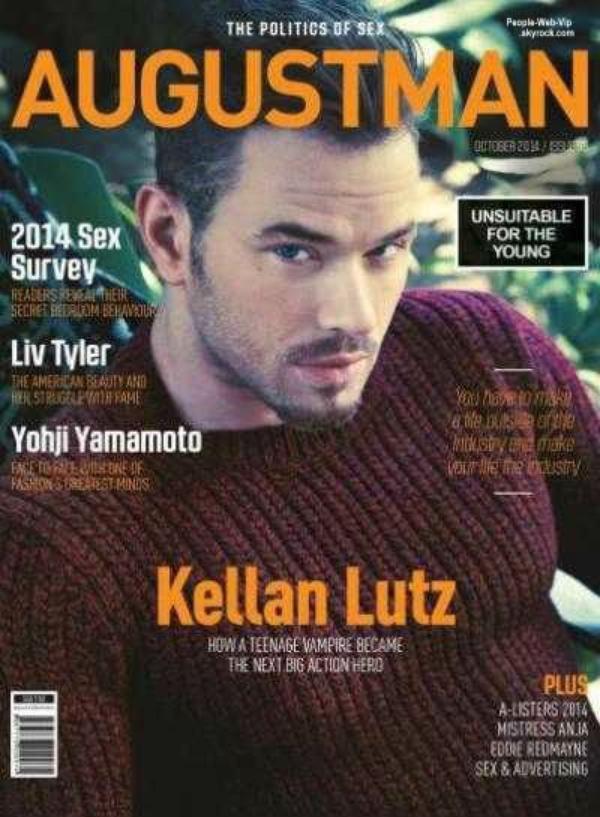 """Capturé par la lentille de la caméra du duo de la photographie Katie Bleacher & Dean Everard,  Kellan Lutz  est en couverture du magazine """"August Man"""" On aime ?"""