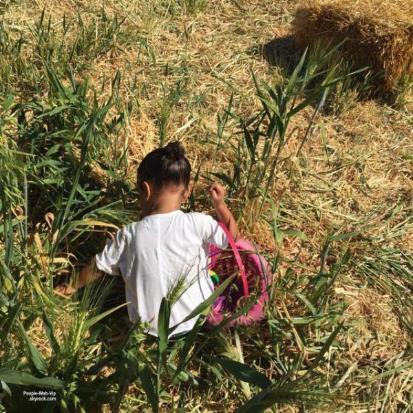 Kim Kardashian a publié des photos de North West à la ferme en pleine chasse aux ½ufs de Pâques.  (dimanche (29 Mars).)