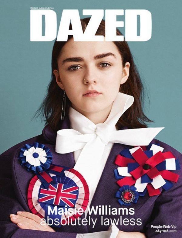 """L'héroïne de la série """" Game of Thrones""""  Maisie Williams orne la couverture du magazine Dazed. Qu'en pensez vous?"""