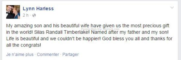 Silas Randall Timberlake. Jessica Biel et Justin Timberlake sont devenus ce samedi les heureux parents d'un garçon !