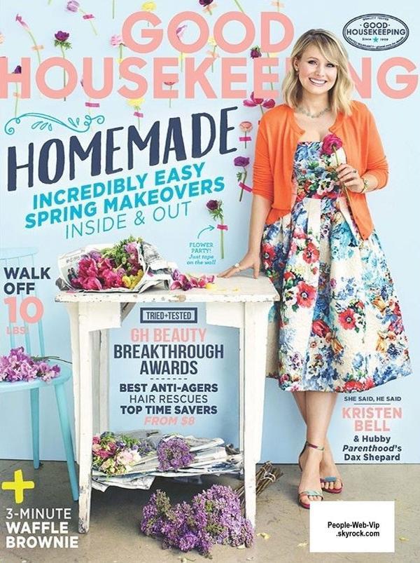 """L'actrice Kristen Bell pose pour le magazine """" Good Housekeeping"""" a paraître en Mai. Qu'en pensez vous?"""