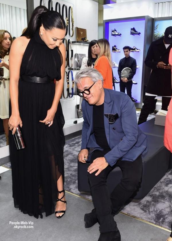 Naya Rivera et son baby bump à l'ouverture du nouveau magasin de Giuseppe Zanotti.  (mardi soir (14 Avril) à Beverly Hills, en Californie.)