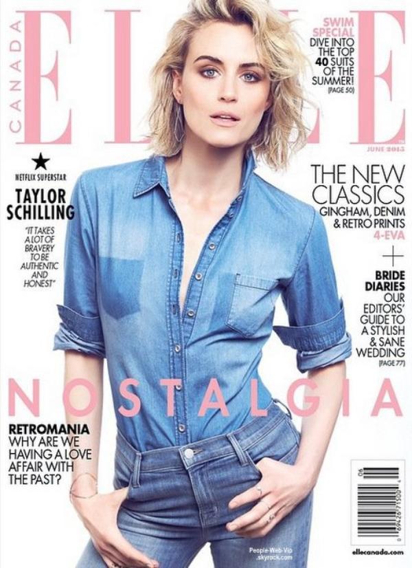 """Taylor Schilling (Orange is the New Black)  orne la couverture du numéro de Juin du magazine """"ELLE Canada."""" Qu'en pensez vous?"""