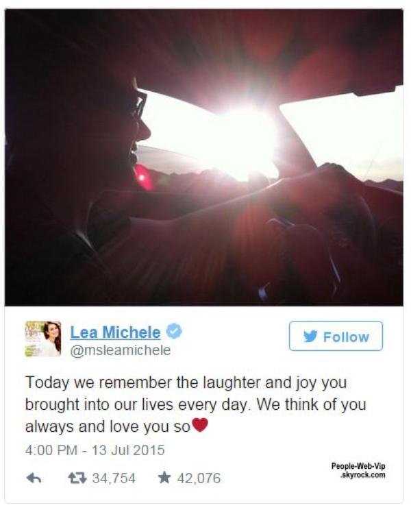 #RIP Lea Michele a rendu hommage sur son compte Twitter pour honorer son défunt petit ami Cory Monteith pour le deuxième anniversaire de sa mort tragique. Cory, 31 ans, a été retrouvé mort dans une chambre d'hôtel après avoir consommé un mélange toxique d'héroïne et de l'alcool, le 13 Juillet 2013, à Vancouver, Canada.