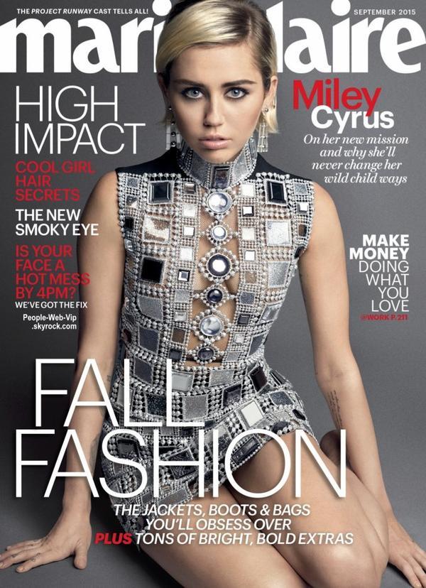 """Miley Cyrus pose pour le magazine """"Marie Claire """" a paraître en Septembre. Qu'en pensez vous?"""