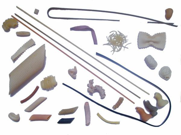 Quelques exemples de différentes sortes de pâtes