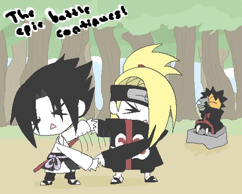 Sasuke vs Deidara ( super combat )