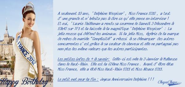 ... La Vie En Rose De Notre Miss France 2012 'Delphine Wespiser' ...!