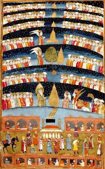 Le palais de Mohamed représenté surmonté des sept cieux (peint au Cachemire en 1808, conservé à la BnF, récit de la Vie de Muhammad)