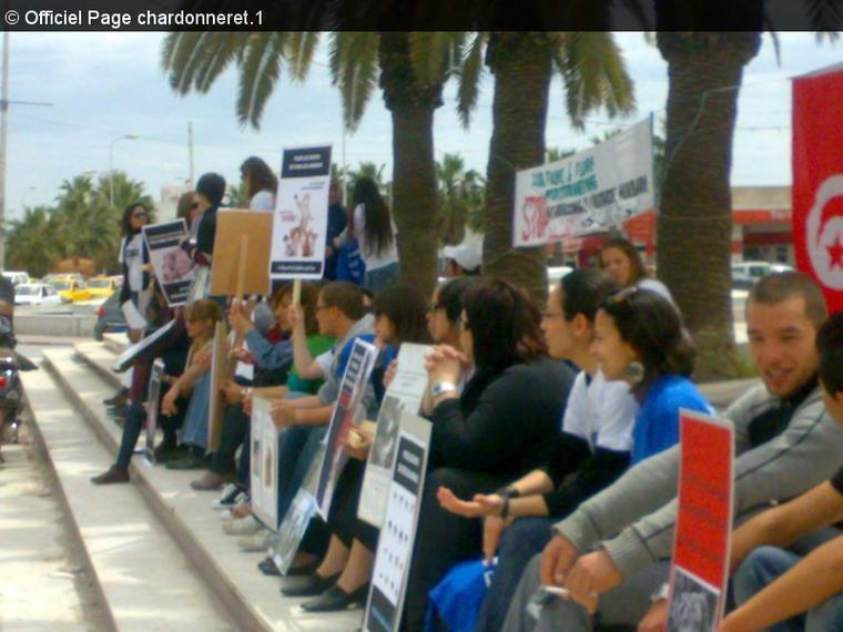 Manifestation de sensibilisation pour les droits des animaux avec participation des membres de notre association ATAOO,Tunis bardo
