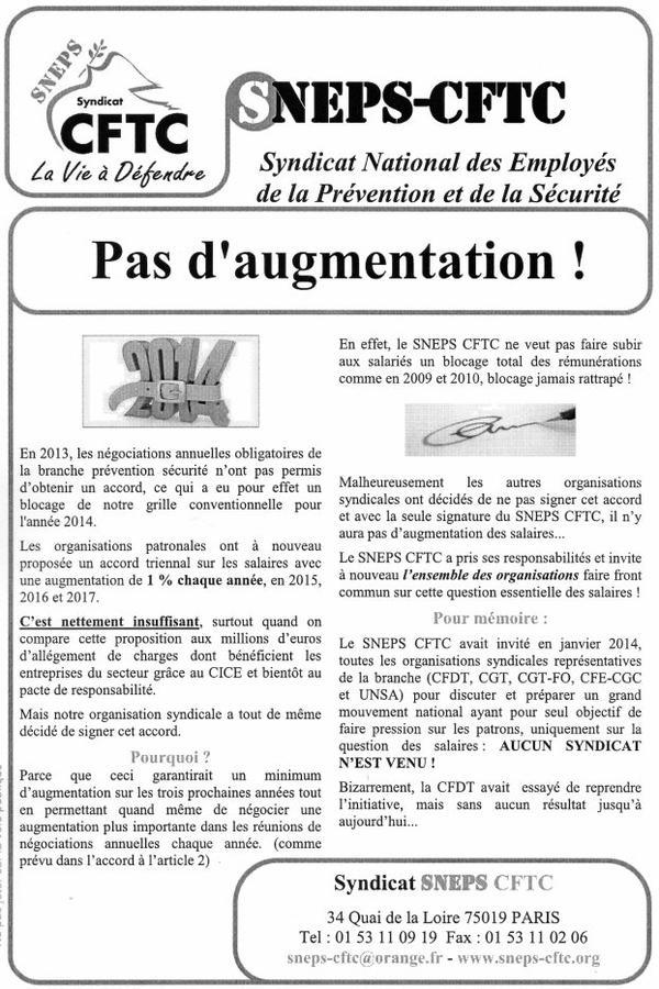 PAS D'AUGMENTATION !
