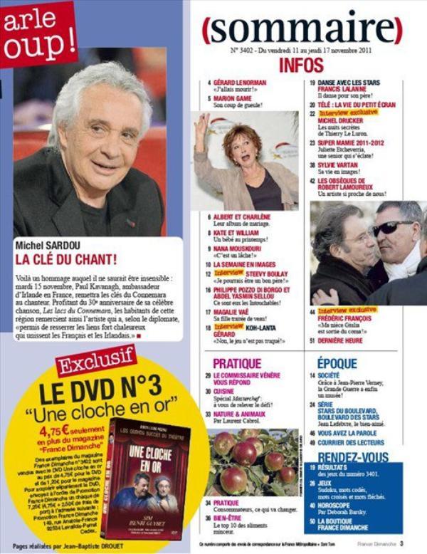 Frédéric François - France Dimanche 3402 du 11/11/11