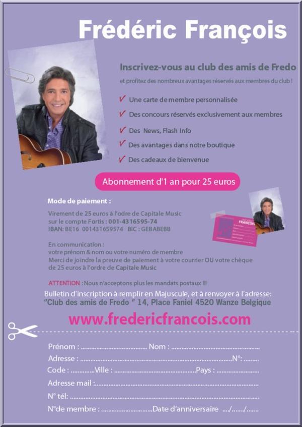 Fan-Club et Page Facebook de Frédéric François