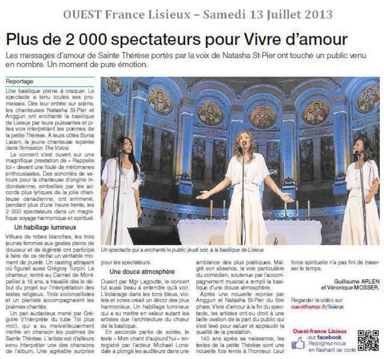 """""""Thérèse - Vivre d'amour""""  Concert à la basilique de Lisieux"""