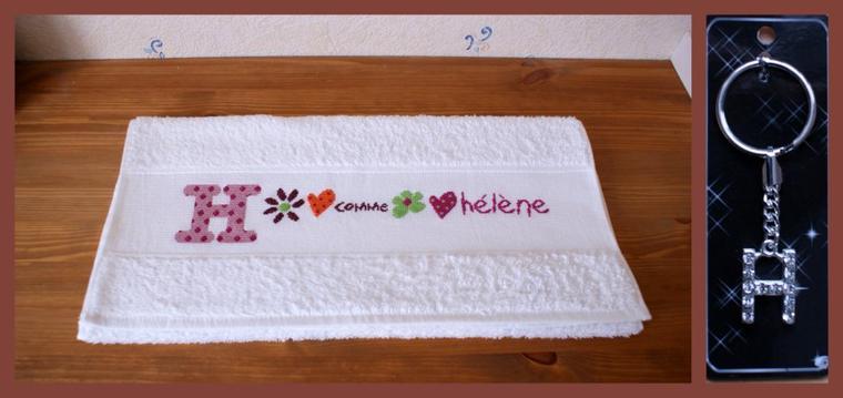 Une serviette brodée pour Hélène