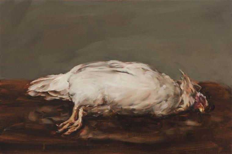 Le terme 'nature morte' implique l'absence de vie et de mouvement. 'Dead Chicken' de Michaël Borremans représente un tel moment.