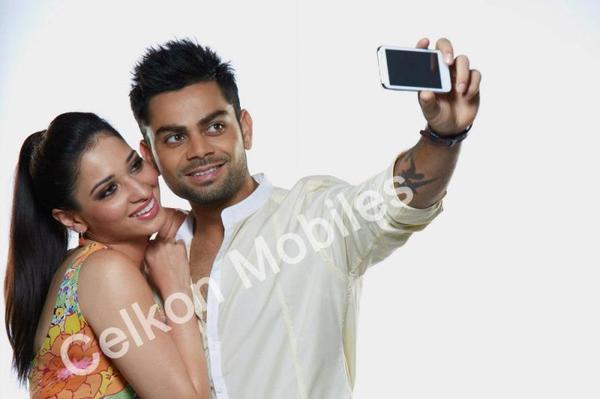 Virat Kohli And Tamanna In Celkon Mobile Ad Making 2012