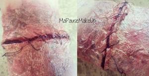 # Maquillage coupure recousue + peau brulée (1er essais)
