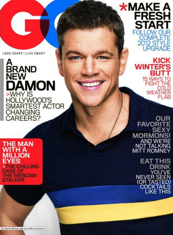 Matt Damon en couverture du magazine GQ: