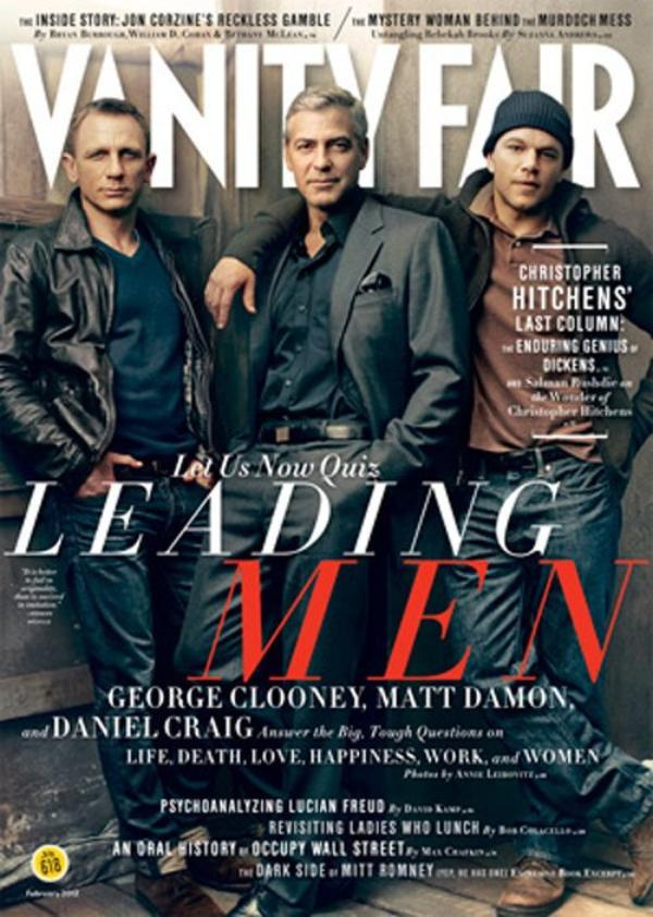 Magazine:  Daniel Craig, Georgle Clooney et Matt Damon en couverture de Vanity Fair