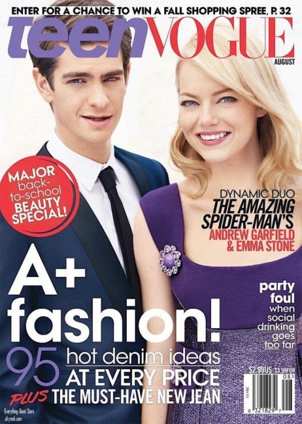 Emma Stone et Andrew Garfield en couverture de TEEN VOGUE