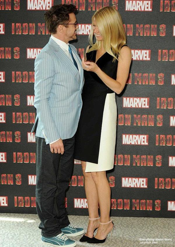Gwyneth Paltrow et Robert Downey, Jr. lors du photocall du film Iron Man 3 à Londres    Le 16 Avril 2013
