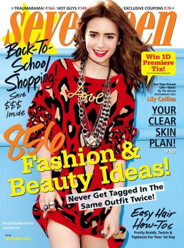 Lily Collins en couverture de Seventeen