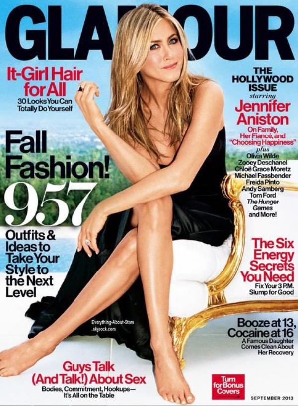 Jennifer Aniston en couverture de Glamour