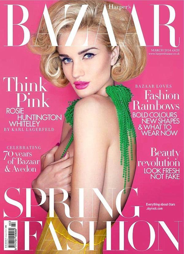 Rosie Huntington-Whiteley en couverture de Harper's Bazaar