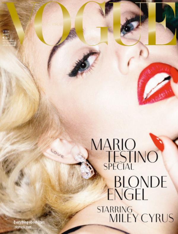 Miley Cyrus en couverture de VOGUE MAGAZINE