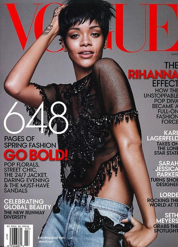 Rihanna en couverture de VOGUE MAGAZINE