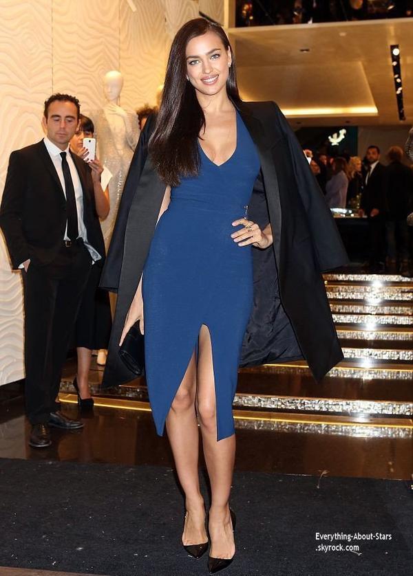 22/02/14: Irina Shayk à l'inauguration de la nouvelle boutique Robert Cavalli, organisée à Milan dans le cadre de la Fashion Week italienne