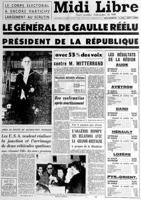 L'élection présidentielle de 1965 : des surprises et un général De Gaulle trop sûr de lui