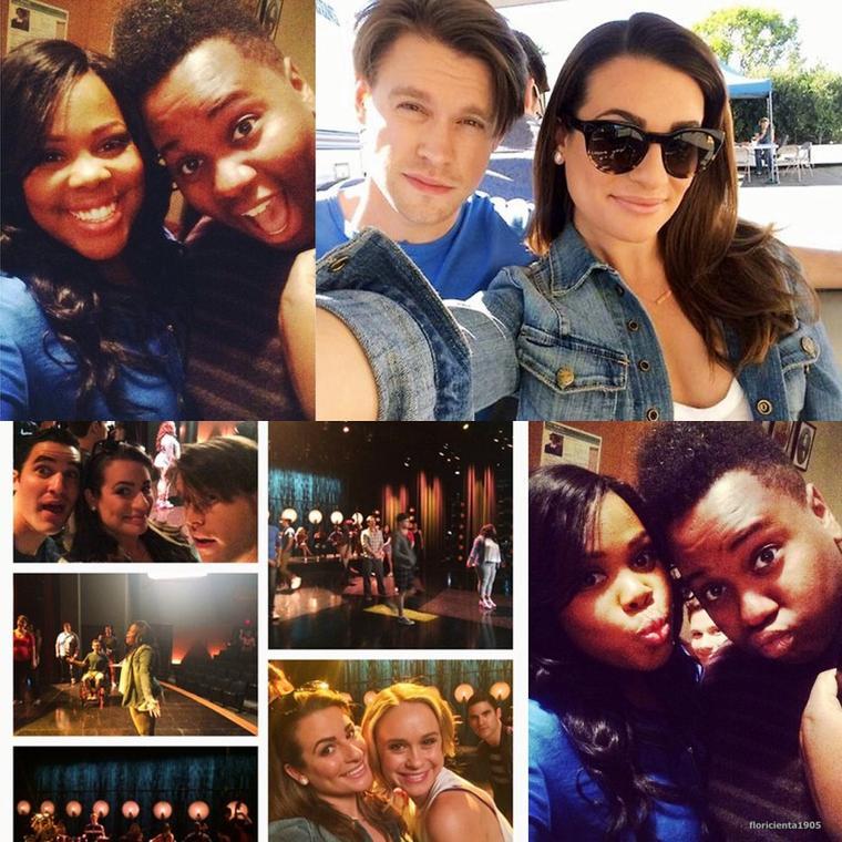 Le cast de Glee en tournage.