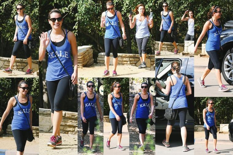 10/11/14:Lea et sa mère en randonnée au Runyon Canyon à Los Angeles