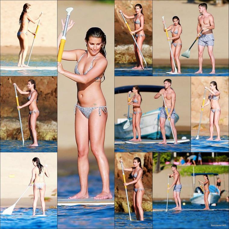 31/12/14:Lea et Matthew ont été aperçu alors qu'ils faisaient du 'paddle boarding' au Mexique.