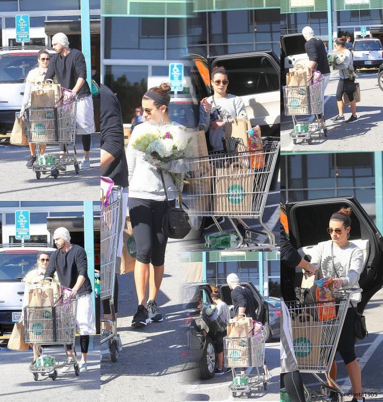"""02/03/15:Lea et Matthew quittant le magasin """" Whole Foods""""."""